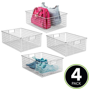 Discover mdesign large farmhouse metal wire storage basket bin box with handles for organizing closets shelves and cabinets in bedrooms bathrooms entryways and hallways 16 x 12 x 6 4 pack chrome