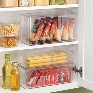Amazon best mdesign stackable kitchen pantry cabinet refrigerator food storage container bin attached lid organizer for packets snacks produce pasta bpa free food safe 8 pack clear
