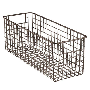 Cheap mdesign farmhouse decor metal wire food storage organizer bin basket with handles for kitchen cabinets pantry bathroom laundry room closets garage 16 x 6 x 6 4 pack bronze