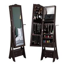 Load image into Gallery viewer, Products led mirrored jewelry cabinet organizer full length standing jewelry storage armoire with makeup tray large capacity 6 drawers 3 adjustable angle and hair dryer storage brown