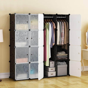 Select nice honey home modular plastic storage cube closet organizers portable diy wardrobes cabinet shelving with doors for bedroom office 16 cubes black white