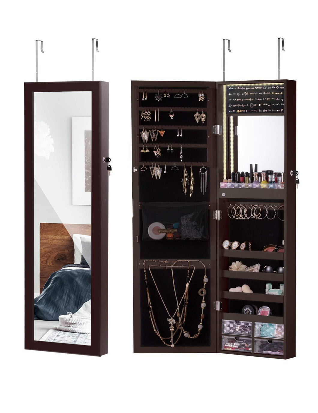 Discover luxfurni led light jewelry cabinet wall mount door hanging mirror makeup lockable armoire large storage organizer w drawers