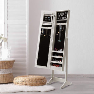 Online shopping giantex jewelry armoire cabinet organizer storage mirrored stand with 4 shelves for makeup 18 necklace hooks 56 rings 20 earrings slots non lockable wood standing jewelry armoire with mirror white