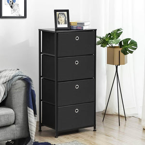 Organize with songmics 4 tier dresser drawer unit cabinet with 4 easy pull fabric drawers storage organizer with metal frame and wooden tabletop for living room closet hallway black ults04h