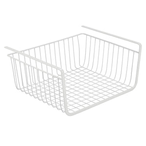 Storage organizer mdesign household metal under shelf hanging storage bin basket with open front for organizing kitchen cabinets cupboards pantries shelves large 2 pack white
