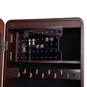 The best songmics 8 leds jewelry cabinet armoire with beveled edge mirror gorgeous jewelry organizer large capacity brown patented ujjc89k