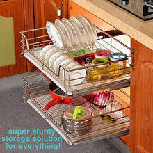 Load image into Gallery viewer, Save on evergohome roll out cabinet organizer chrome pull out cabinet single sliding shelf side mount strong loading capacity pull out shelf suitable for 24 inches wide kitchen cabinet external