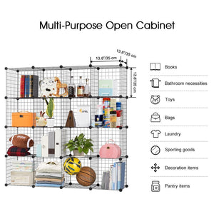 Purchase langria metal wire storage cubes modular shelving grids diy closet organization system bookcase cabinet 16 regular cube