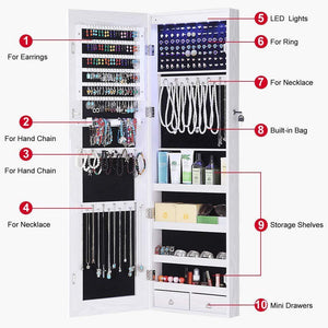 Order now gissar full length mirror jewelry cabinet 6 leds jewelry armoire wall mounted over the door hanging jewelry organizer storage with lights lockable white