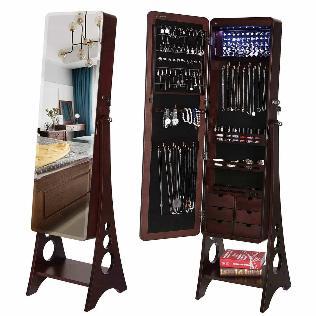 Storage organizer songmics 8 leds jewelry cabinet armoire with beveled edge mirror gorgeous jewelry organizer large capacity brown patented ujjc89k
