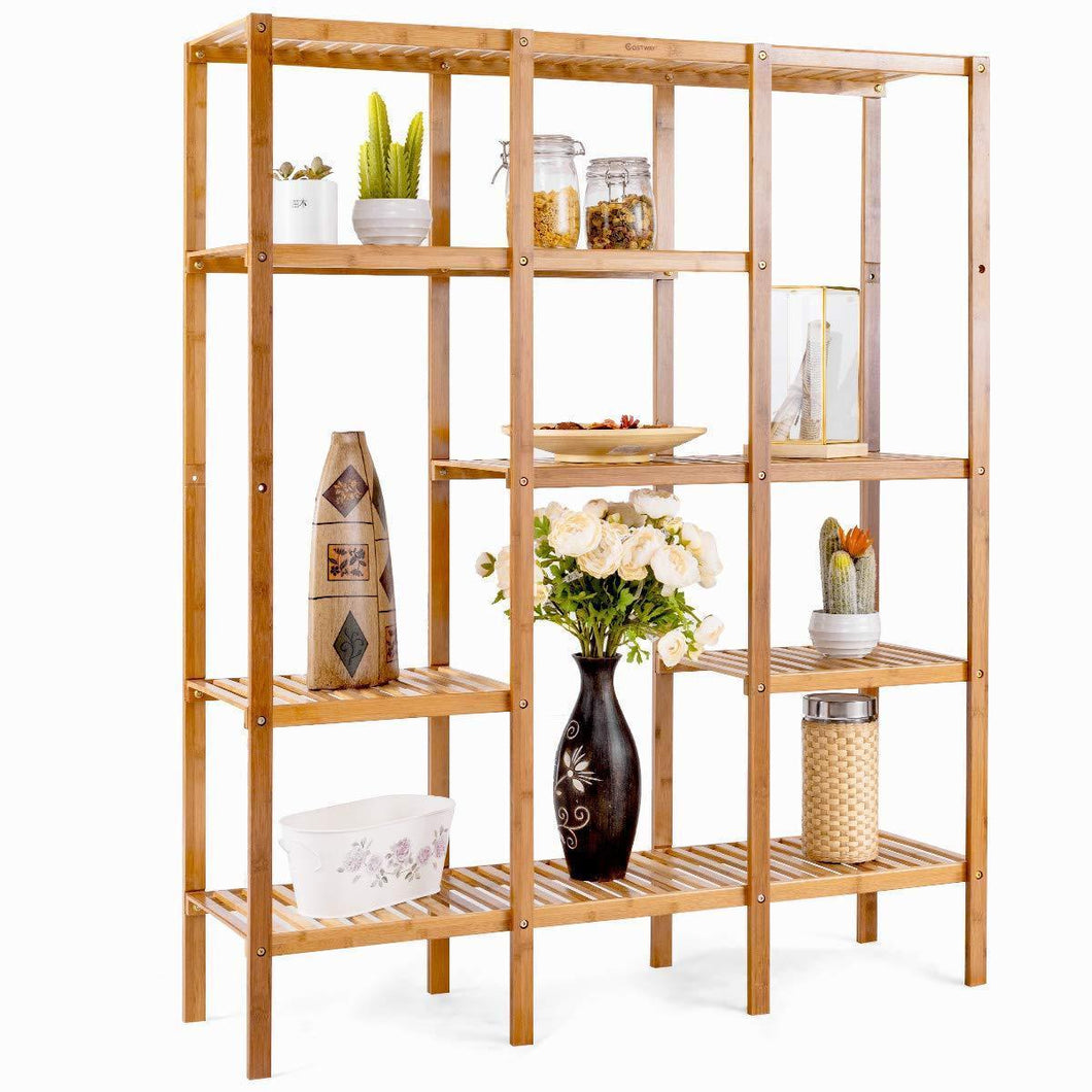 Top costway multifunctional bamboo shelf bathroom rack storage organizer rack plant display stand w several cell closet storage cabinet 5 tier