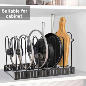 Kitchen pot rack organizers g ting 8 tiers pots and pans organizer adjustable pot lid holders pan rack for kitchen counter and cabinet lid organizer for pots and pans with 3 diy methods2019 upgraded