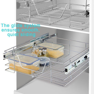 Select nice evergohome roll out cabinet organizer chrome pull out cabinet single sliding shelf side mount strong loading capacity pull out shelf suitable for 24 inches wide kitchen cabinet external