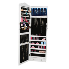 Load image into Gallery viewer, Top mind reader hmled14 wht hanging cabinet 14 led lights wall mounted jewelry armoire organizer with mirror 2 drawers necklaces rings earrings bracelets white