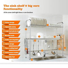 Load image into Gallery viewer, Budget friendly nex 2 tier stainless steel drying dish rack non slip length adjustable kitchen cabinets with chopstick holder double groove