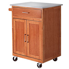 Load image into Gallery viewer, Amazon giantex wood kitchen trolley cart rolling kitchen island cart with stainless steel top storage cabinet drawer and towel rack