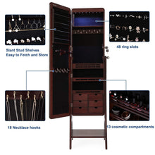 Load image into Gallery viewer, Top rated songmics 8 leds jewelry cabinet armoire with beveled edge mirror gorgeous jewelry organizer large capacity brown patented ujjc89k