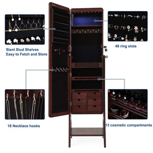 Top rated songmics 8 leds jewelry cabinet armoire with beveled edge mirror gorgeous jewelry organizer large capacity brown patented ujjc89k