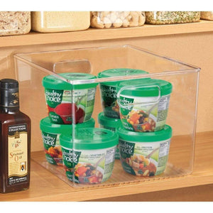 Products mdesign plastic storage organizer container bins holders with handles for kitchen pantry cabinet fridge freezer large for organizing snacks produce vegetables pasta food 8 pack clear