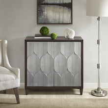 Load image into Gallery viewer, Related madison park mp130 0657 leah storage cabinet modern transitional luxe double door design solid wood legs living room furniture accent chest 34 25 tall silver