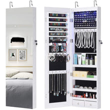 Load image into Gallery viewer, New gissar full length mirror jewelry cabinet 6 leds jewelry armoire wall mounted over the door hanging jewelry organizer storage with lights lockable white