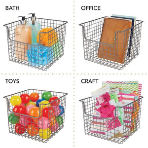 Budget mdesign metal wire open front organizer basket for kitchen pantry cabinet shelf holds canned goods baking supplies boxed food mixes fruits vegetables snacks 10 wide 4 pack graphite gray