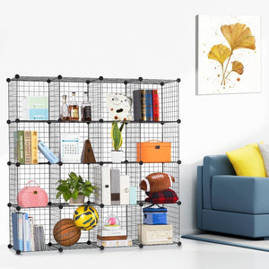 Results langria metal wire storage cubes modular shelving grids diy closet organization system bookcase cabinet 16 regular cube