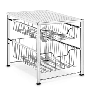 Organize with bextsware under sink cabinet organizer with 2 tier wire grid sliding drawer multi function stackable mesh storage organizer for kitchen counter desktop bathroomchrome