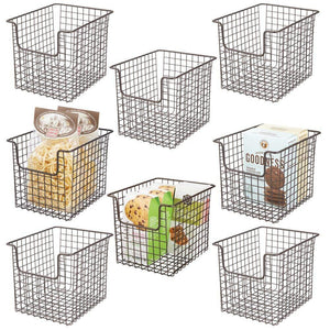 Featured mdesign household metal kitchen pantry food storage organizer basket bin farmhouse grid design or cabinets cupboards shelves holds potatoes onions fruit 8 wide 8 pack bronze