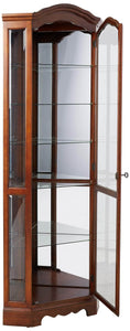 Discover the best 5 shelf corner curio cabinet medium brown and clear