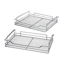 Load image into Gallery viewer, Shop here 34 6x21 3x8 3 in under cabinet pull out chrome 4 tier wire basket organizer cabinet dish rack shelves bowl utensils holder full pullout set gray bottom
