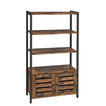 Load image into Gallery viewer, Buy vasagle industrial storage cabinet bookshelf bookcse bathroom floor cabinet with 3 shelves and 2 shutter doors in living room study bedroom multifunctional rustic brown ulsc75bx