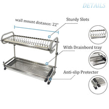 Load image into Gallery viewer, Discover 23 2 kitchen dish rack 2 tier stainless steel cabinet rack wall mounted with drainboard set dish bowl cup holder 23 2 inch