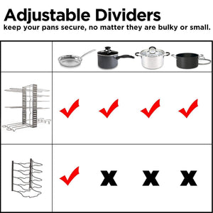 Discover the best geekdigg pot rack organizer adjustable height and position kitchen counter and cabinet pan organizer shelf rack pot lid holder with 3 diy methods silver
