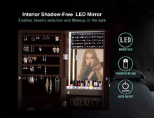 Load image into Gallery viewer, Exclusive luxfurni led light jewelry cabinet wall mount door hanging mirror makeup lockable armoire large storage organizer w drawers