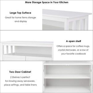 Shop homfa kitchen sideboard storage cabinet large dining buffet server cupboard cabinet console table with display shelf and double doors white