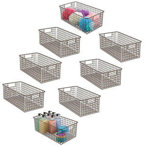 Amazon mdesign farmhouse decor metal wire bathroom organizer storage bin basket for cabinets shelves countertops bedroom kitchen laundry room closet garage 16 x 9 x 6 in 8 pack bronze