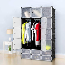 Load image into Gallery viewer, Amazon best honey home diy modular shelving storage organizer 18 cube extra large portable wardrobe with clothes rod 12 cubes organizing cabinet 6 cubes shoe rack