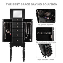 Load image into Gallery viewer, Selection giantex jewelry armoire chest cabinet storage box with top flip makeup mirror large standing organizer for bedroom 10 necklace hooks space saving side swing doors jewelry armoires w 5 drawers black