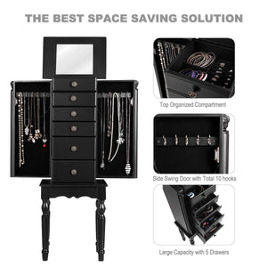Selection giantex jewelry armoire chest cabinet storage box with top flip makeup mirror large standing organizer for bedroom 10 necklace hooks space saving side swing doors jewelry armoires w 5 drawers black