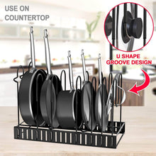 Load image into Gallery viewer, New pot rack organizers g ting 8 tiers pots and pans organizer adjustable pot lid holders pan rack for kitchen counter and cabinet lid organizer for pots and pans with 3 diy methods2019 upgraded