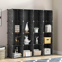 Load image into Gallery viewer, New kousi portable storage shelf cube shelving bookcase bookshelf cubby organizing closet toy organizer cabinet black no door 16 cubes