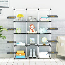 Load image into Gallery viewer, Order now kousi portable storage cube cube organizer cube storage shelves cube shelf room organizer clothes storage cubby shelving bookshelf toy organizer cabinet transparent white 12 cubes