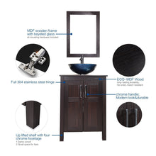 Load image into Gallery viewer, Top elecwish usba20090 usba20077 bathroom vanity and sink combo stand cabinet and tempered blue glass vessel sink orb faucet and pop up drain mirror mounting ring