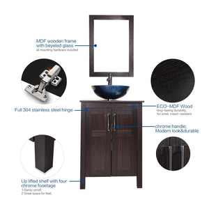 Top elecwish usba20090 usba20077 bathroom vanity and sink combo stand cabinet and tempered blue glass vessel sink orb faucet and pop up drain mirror mounting ring