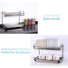 Load image into Gallery viewer, Exclusive 23 2 kitchen dish rack 2 tier stainless steel cabinet rack wall mounted with drainboard set dish bowl cup holder 23 2 inch