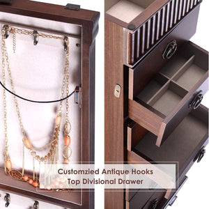 Results giantex standing jewelry armoire cabinet storage chest with 7 drawers 2 swing doors 12 necklace hooks makeup mirror and top divided storage organizer large standing jewelry armoire