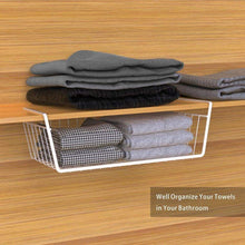 Load image into Gallery viewer, Results under shelf basket ace teah 4 pack under shelf rack wire rack under shelf storage organizer saving spaces for pantry cabinet closet white