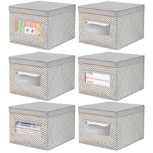 Load image into Gallery viewer, Best mdesign decorative soft stackable fabric office storage organizer holder bin box container clear window lid for cabinets drawers desks workspace large foldable chevron print 6 pack taupe