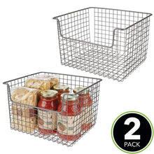 Load image into Gallery viewer, Results mdesign metal kitchen pantry food storage organizer basket farmhouse grid design with open front for cabinets cupboards shelves holds potatoes onions fruit 12 wide 2 pack graphite gray